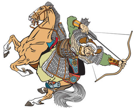 Mongol archer warrior on a horseback riding a pony horse and shooting a bow and arrow. Medieval time of Genghis Khan. Ancient East Asian cavalry. Isolated vector illustration