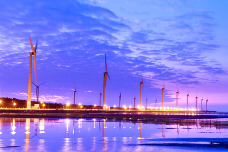 windpower station with clouds and blue sky in Taiwan Taichung Gaomei