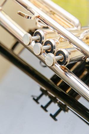 flugelhorn: Detail of trumpet closeup Stock Photo