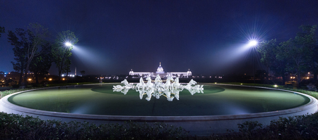 weaponry: Tainan, Taiwan - November 19, 2015: night scene of the Apollo fountain of Chimei Museum on November 19, 2015, Chimei Museum is a comprehensive museum with wide collections of Western art, musical instruments, weaponry and natural history. Editorial