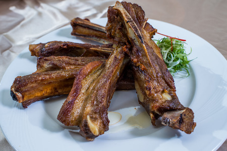 shank: Braised lamb shank in restaurant