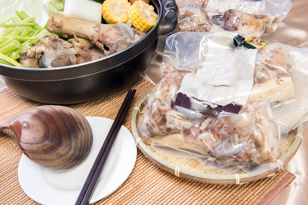 chinese new year food: Chinese New Year dishes.Big bone pork pot, Pig bone ready-to-eat food packets