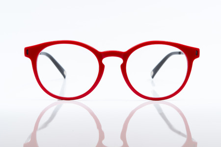 red eye: Red eye glasses isolated on white background.