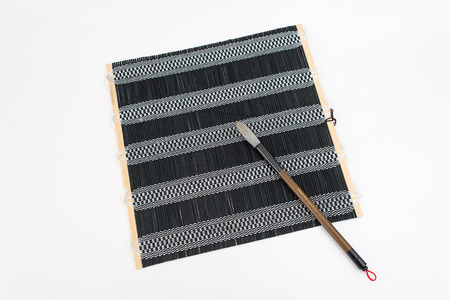 sumi e: Chinese traditional calligraphy utensil. Writing brush, Pleated Blinds which is stored writing brush