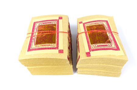 Chinese Joss papier, traditioneel voor overleed geesten voorouder met selectieve aandacht. (Ghost geld voor Chinese dode mensen) Kalligrafie betekent geld.