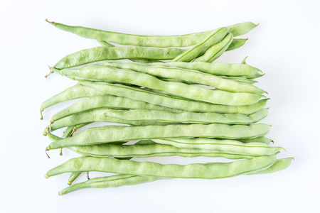 Kentucky wonder Pole Beans (Phaseolus vulgaris) (string beans) Banque d'images