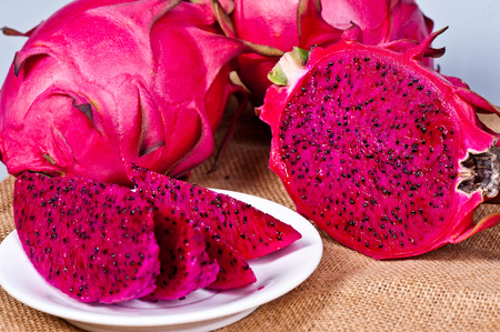 beautiful fresh sliced ??red dragon fruit (pitaya)