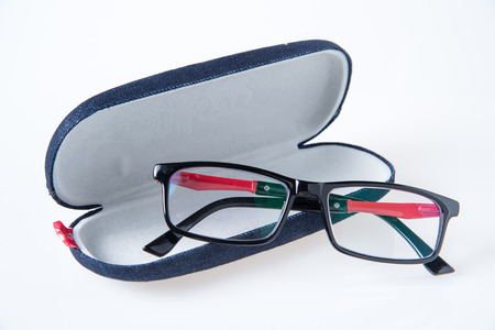 shortsighted: black glasses and glasses case