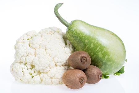 cauliflower, kiwi and bottle gourd islolated on white background