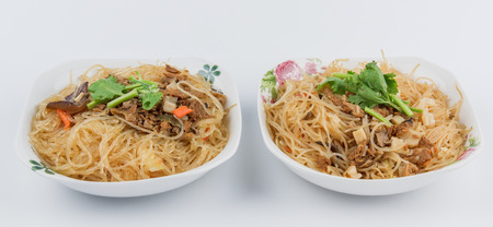 Green bean noodle and Fried rice noodles Stock Photo