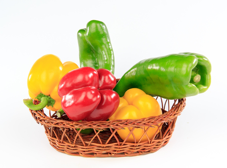 colorful peppers in a basket Stock Photo