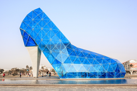 A giant blue glass church in Taiwan shaped like a high-heeled shoe in Taiwan Chiayi