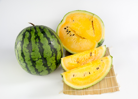 Fruit slices of watermelon on white background
