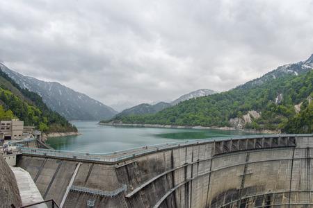 radius: The view of Kurobe Dam. The Kurobe Dam or Kuroyon Dam is a variable-radius arch dam on the Kurobe River in Toyama Prefecture, Japan