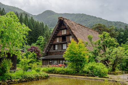 gassho zukuri: Japan, Shirakawa-go June 2 2017: Historic Villages of Shirakawa-go and Gokayama in spring, travel landmark of Japan