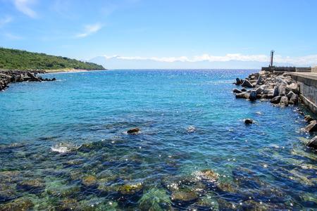 小さな琉球、青い空と白い雲の風景 写真素材