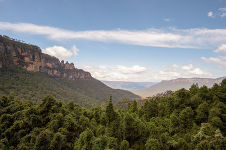 wales: The famous Three Sisters rock formation in the Blue Mountains National Park close to Sydney, Australia.