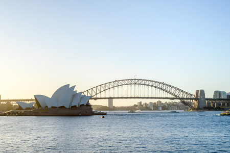 Sydney Opera House and Harbor Bridge, Sydney Harbor, Australia.