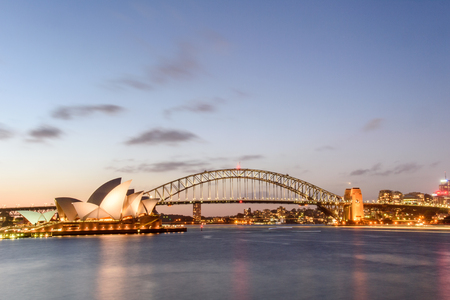 Night Sydney Opera House with Harbor Bridge Editorial