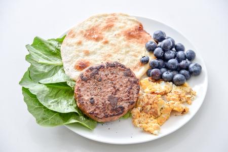 breakfast set, Beef, Omelet, Blueberry, Vegetable, thin pancake