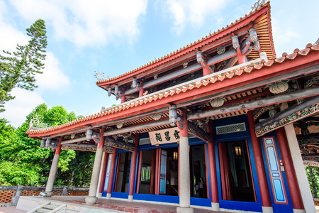 Tainan, Taiwan - November 20,2017: Wen-Chang Temples in Chikan Tower (With Chinese Name Wenchang Pavilion in the Front) in Taiwan Tainan.