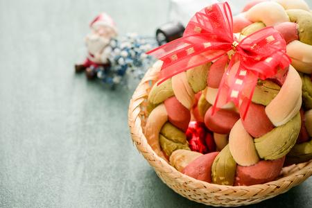Christmas wreath bread with Santa Claus