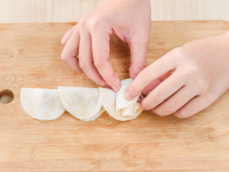 Chef is cooking rose flower shape dumpling process, chinese meal, cheese corn dumpling