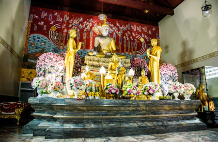 Buddha statues in Phra Nakhon Si Ayutthaya, at yai chaimongkol Thailand, one of the famous historical landmark in the center of Thailand. Editorial