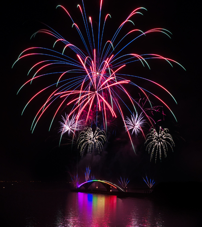 Taiwan, Penghu International Ocean Fireworks Festival, Rainbow Bridge, Magong Guanyinting Recreation Area, long exposure, new year concept