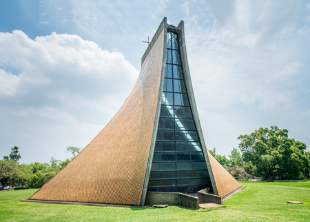 Taichung,Taiwan - April 23, 2018: An extraordinary exterior design of the Luce Memorial Chapel located at the campus of Tunghai University.
