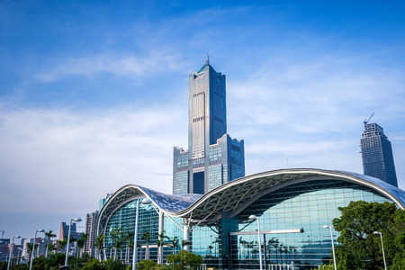 Kaohsiung, Taiwan - June 8, 2018 : Kaohsiung Exhibition Center modern building and 85 sky tower