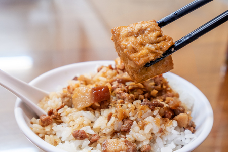 Taiwan famous food - Braised pork and fried tofu on rice. Soy-stewed pork rice, Taiwan Delicacies, Taiwan Street Food