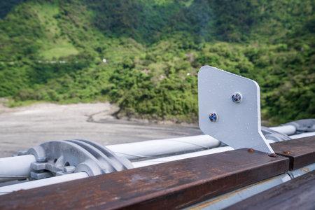 Pingtung, Taiwan - June 28,2018: Valley Glaze Bridge Guidelines in Taiwan, Pingtung. (The Longest Suspension Bridge in Taiwan) Editorial