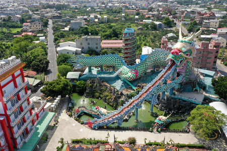aerial view of Madou Daitian Temple with multicolored dragon.