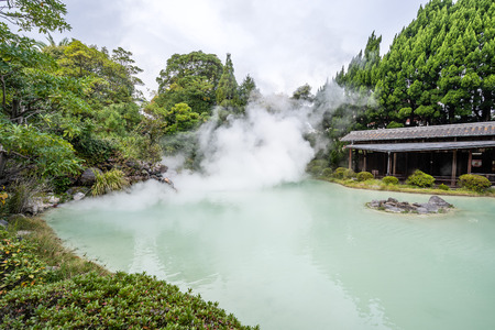 Shiraike Jigoku (White pond Hell) pond in autumn, which is one of the famous natural hot springs viewpoint, representing the various hells in Beppu Editorial