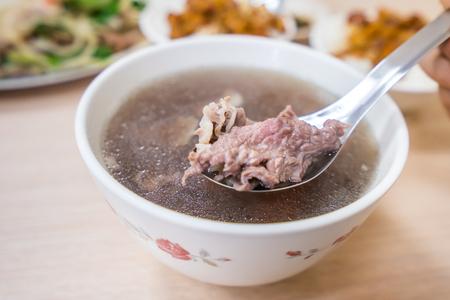 Taiwan famous food - Tainan beef soup, traditional breakfast in Tainan, Taiwan.