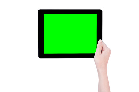 Teenage beautiful girl holding a black tablet pc template with green screen isolated on white background