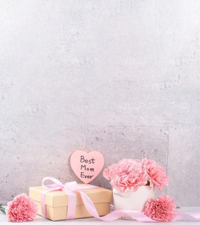 Majowe pudełko upominkowe na dzień matki życzy fotografii-piękne kwitnące goździki z pudełkiem z różową wstążką na szarym tle biurka, zbliżenie, kopia przestrzeń, makieta