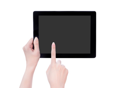 Young beautiful girl holding a black tablet with gray screen isolated on white background 스톡 콘텐츠