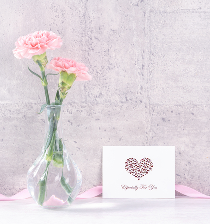 Mothers day handmade giftbox surprise wishes photography - Beautiful blooming carnations with pink ribbon box isolated on gray wallpaper design, close up, copy space, mock up