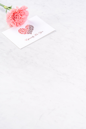 May mothers day handmade giftbox idea concept, beautiful blooming carnations with baby pink ribbon bow gift isolated on modern marble desk, close up, copy space, mock up Stock Photo