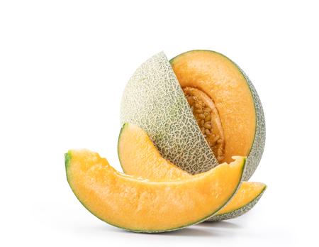 tasty sliced rock cantaloup melon isolated on white background