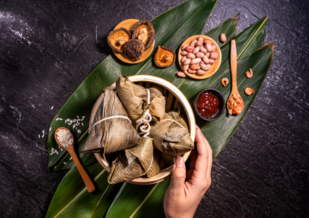 Zongzi, delicious fresh hot steamed rice dumplings in steamer. Close up, copy space, famous asian tasty food in dragon boat duanwu festival Stok Fotoğraf