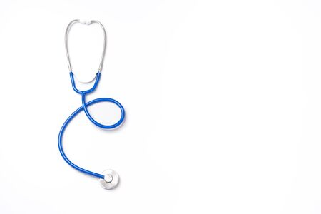 Blue stethoscope,object of doctor equipment,isolated on white background. Medical design concept,cut out,clipping path,top view,studio shot.