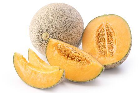 Beautiful tasty sliced juicy cantaloupe melon, muskmelon, rock melon isolated on white background