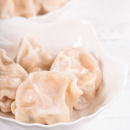Fresh, delicious boiled pork, shrimp gyoza dumplings on white background with soy sauce and chopsticks, close up, lifestyle. Homemade design concept.