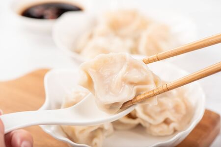 Fresh delicious pork and shrimp gyoza dumplings on white background, close up, lifestyle. Homemade food concept.