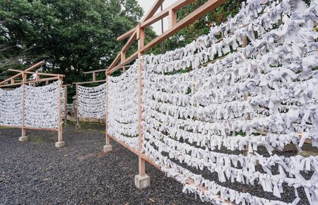 Saga, Japan - Nov. 12, 2018: Japanese random fortune telling paper (Omikuji) folded and tied on rope wires (Omikuji kake) in traditional temple, concept of bringing blessing. Publikacyjne