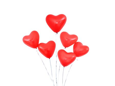 Red heart shaped helium balloon isolated on white background with ropes, Valentine's day, Mother's day, birthday party design concept. Clipping path.