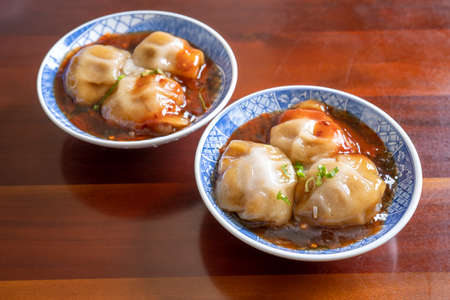 Bawan (Ba wan), Taiwanese meatball delicacy, delicious street food, steamed starch wrapped round shaped dumpling with pork inside, close up, copy space Banco de Imagens